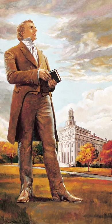 Joseph Smith in Front of the Nauvoo Temple