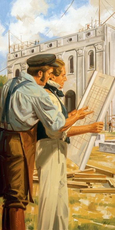 Joseph Smith and Joseph Knight, Jr. Study the Temple Plans