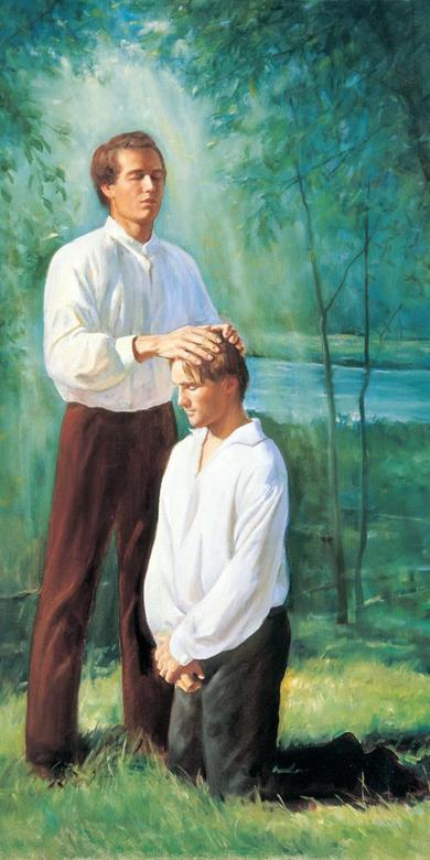 Joseph Smith Ordains Oliver Cowdery to the Aaronic Priesthood