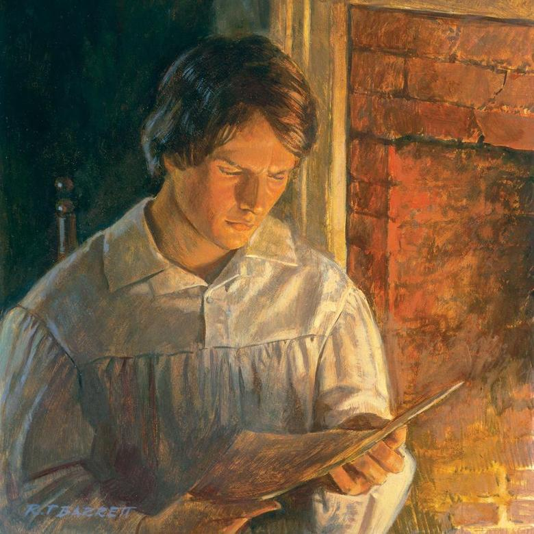 Joseph Smith Reading Near a Fireplace
