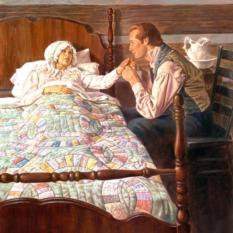 Joseph Smith, Jr. at Sickbed of Emma Hale Smith