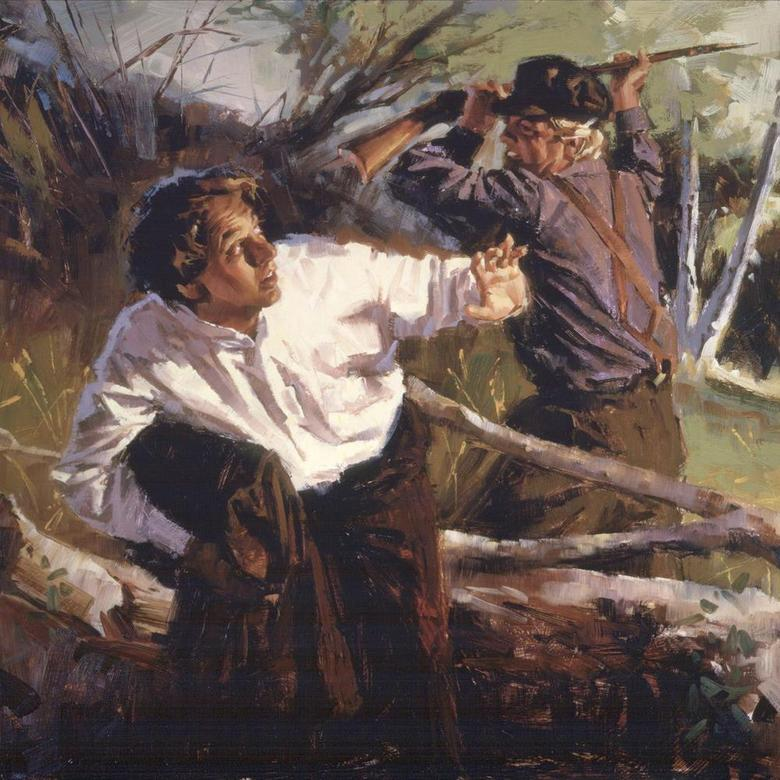 Joseph Smith Protecting the Gold Plates