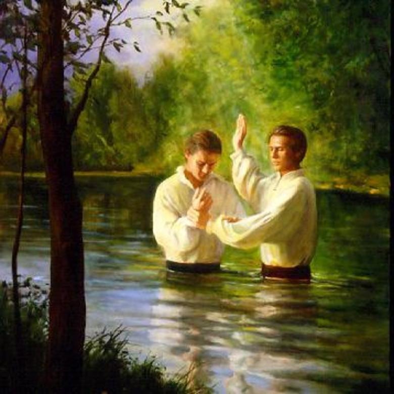 Joseph Smith Baptizes Oliver Cowdery