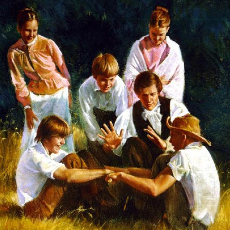 Joseph Smith and Nauvoo Youth Pulling Sticks